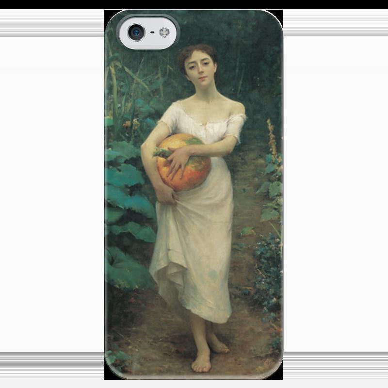 Чехол для iPhone 5 глянцевый, с полной запечаткой Printio Young girl with a pumpkin cambridge young learners english flyers 5 answer booklet