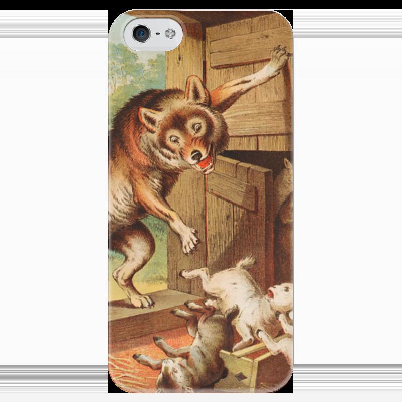 Чехол для iPhone 5 глянцевый, с полной запечаткой Printio Волк и семеро козлят азбукварик книга с музыкальным модулем волк и семеро козлят