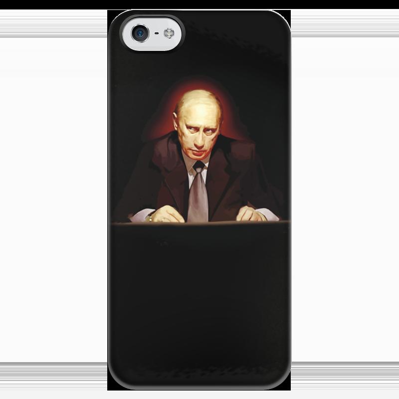 Чехол для iPhone 5 глянцевый, с полной запечаткой Printio Путин в темноте как и где iphone 5s с поддержкой lte в россии