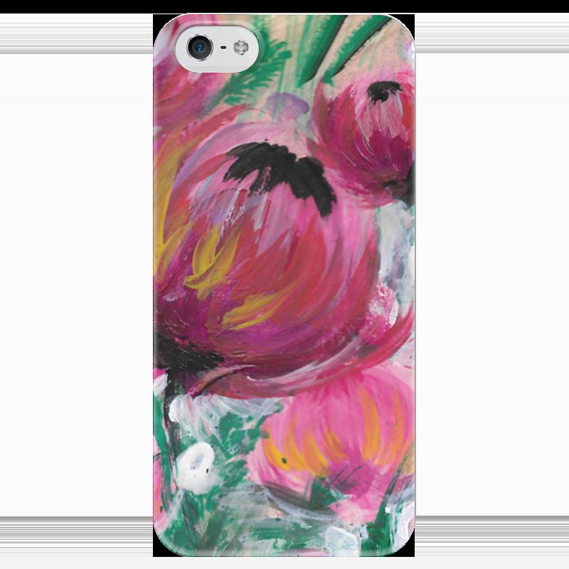 Чехол для iPhone 5 глянцевый, с полной запечаткой Printio Полевые цветы
