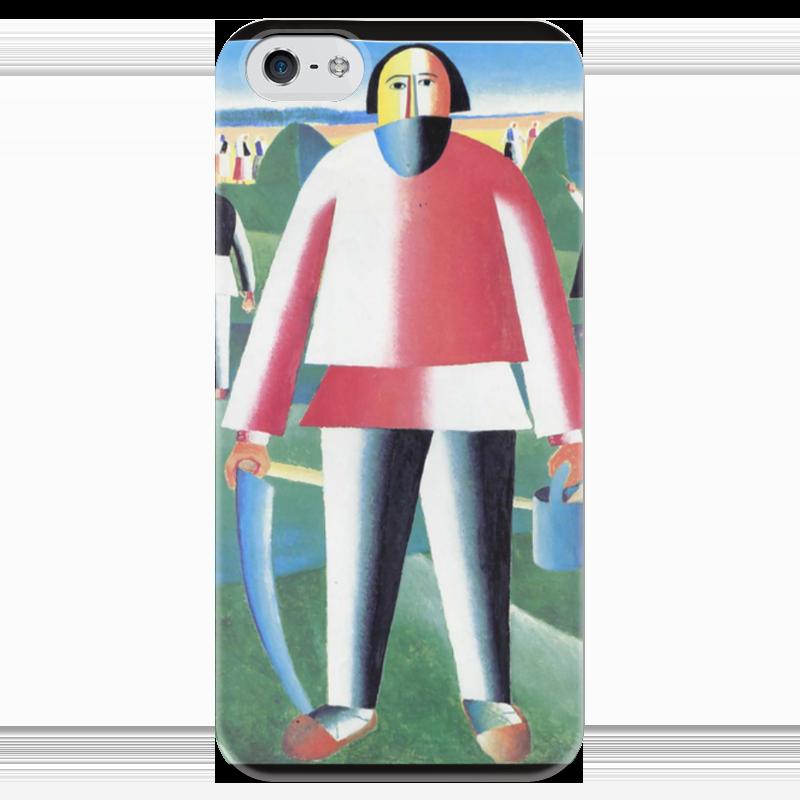 Чехол для iPhone 5 глянцевый, с полной запечаткой Printio Жнец (казимир малевич)