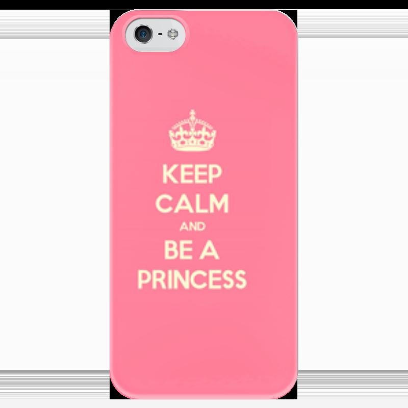 Чехол для iPhone 5 глянцевый, с полной запечаткой Printio Keep calm and be a princess! sahar cases чехол keep calm and love me iphone 5 5s 5c