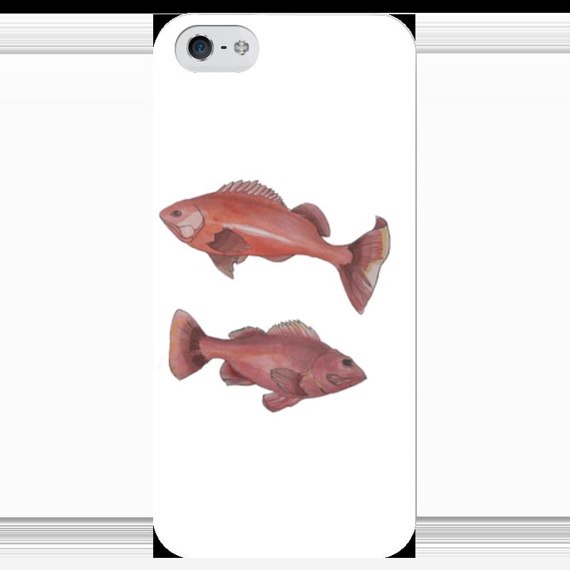 Чехол для iPhone 5 глянцевый, с полной запечаткой Printio Красные рыбы анна игнатова вектор пластилина