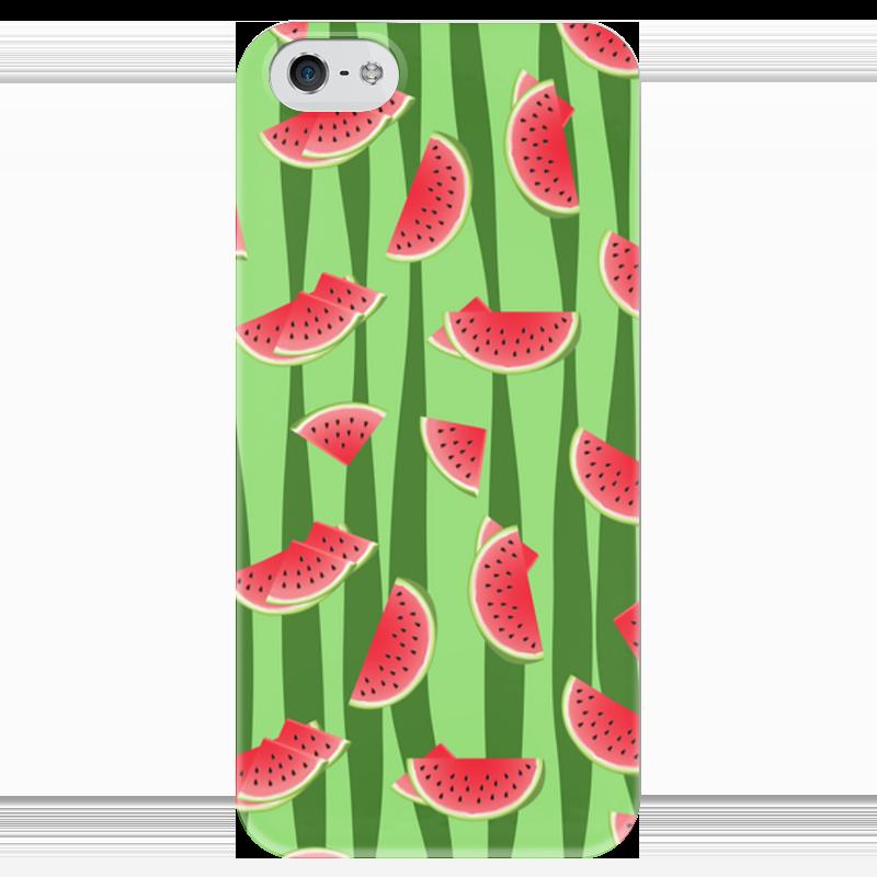 Чехол для iPhone 5 глянцевый, с полной запечаткой Printio Арбуз чехол для карточек фламинго на зеленом фоне дк2017 099