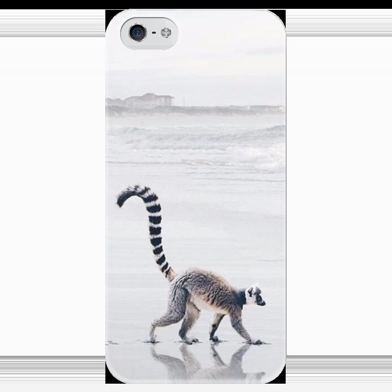 купить Чехол для iPhone 5 глянцевый, с полной запечаткой Printio Лимур по цене 980 рублей