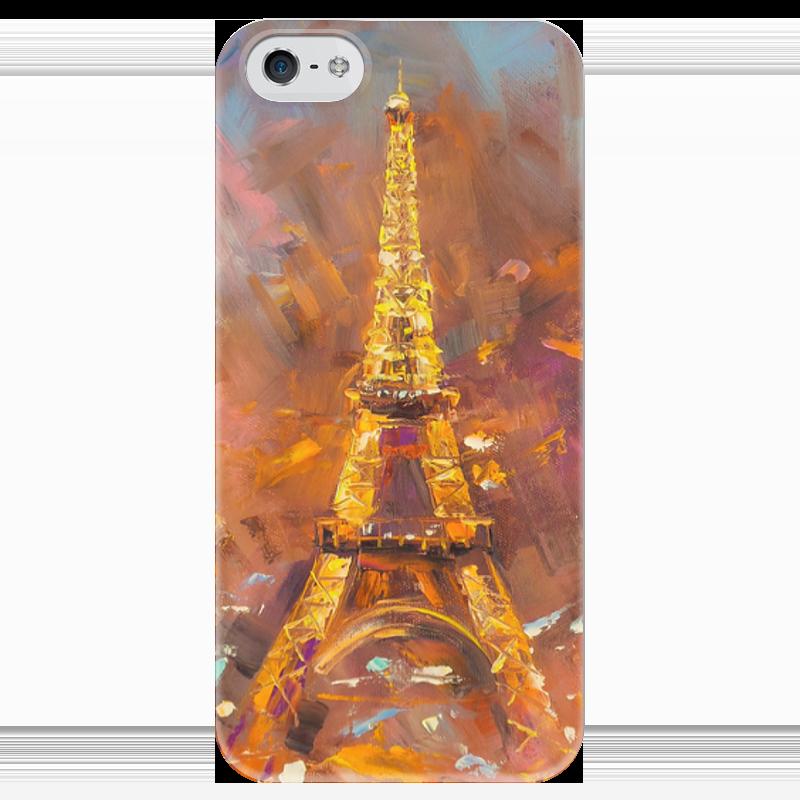 Чехол для iPhone 5 глянцевый, с полной запечаткой Printio Эйфелева башня