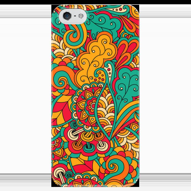 Чехол для iPhone 5 глянцевый, с полной запечаткой Printio Цветочный орнамент чехол для iphone 6 глянцевый printio цветочный