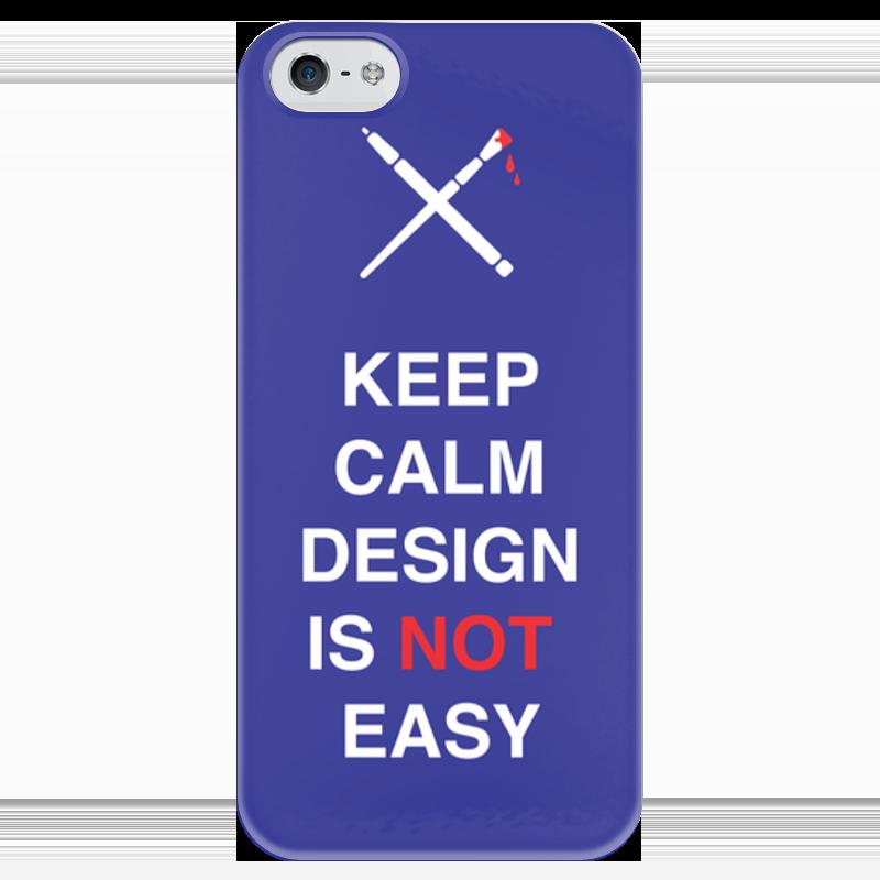 Чехол для iPhone 5 глянцевый, с полной запечаткой Printio Keep calm design is not easy. тетрадь на пружине printio keep calm design is not easy