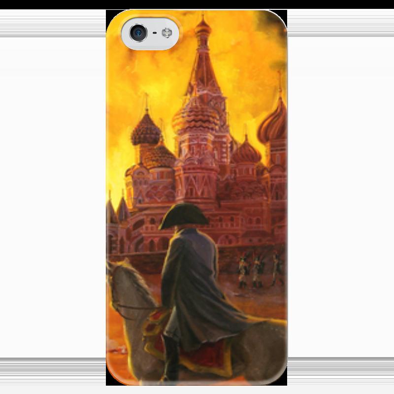 Чехол для iPhone 5 глянцевый, с полной запечаткой Printio Наполеон. пожар в москве. 1812 чехол для вейкборда в москве