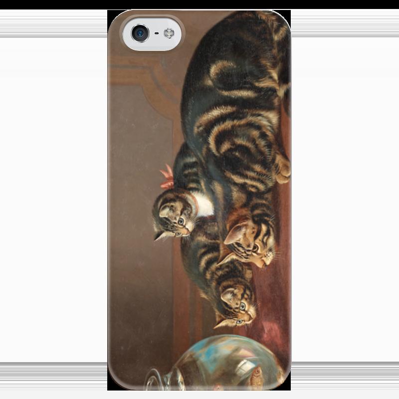 Чехол для iPhone 5 глянцевый, с полной запечаткой Printio Cats by a fishbowl чехол для карточек who let the cats out дк2017 095