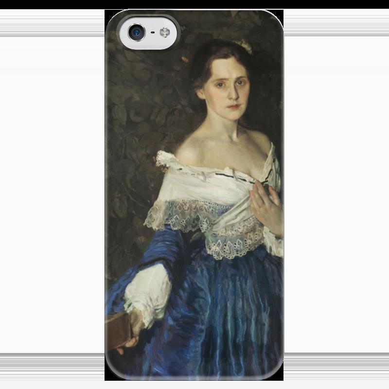 Чехол для iPhone 5 глянцевый, с полной запечаткой Printio Дама в голубом (картина сомова) картины pavone картина дама картина