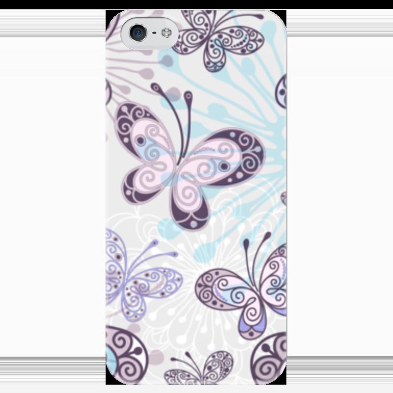 Чехол для iPhone 5 глянцевый, с полной запечаткой Printio Фиолетовые бабочки какой iphone лучше для россии