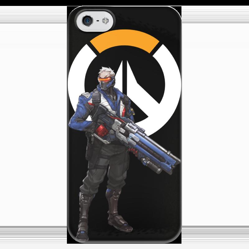Чехол для iPhone 5 глянцевый, с полной запечаткой Printio Overwatch soldier 76 / овервотч солдат 76