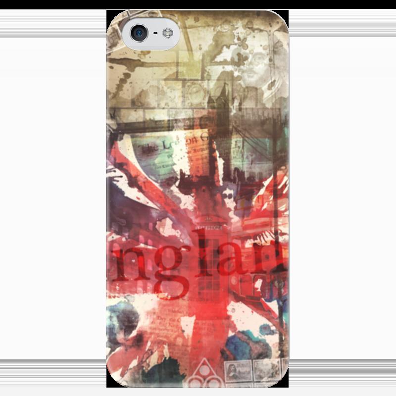 Чехол для iPhone 5 глянцевый, с полной запечаткой Printio Английский флаг чехол для iphone 5 глянцевый с полной запечаткой printio флаг пророка жан леон жером