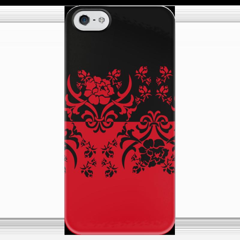 Чехол для iPhone 5 глянцевый, с полной запечаткой Printio Красно-черное чехол флип для lenovo p90 k80m белый с цветочным узором armorjacket