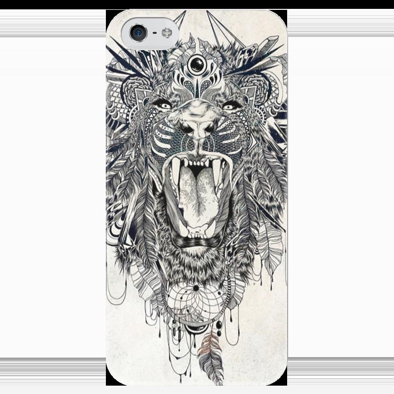 Чехол для iPhone 5 глянцевый, с полной запечаткой Printio Тигр. маска чехол для маски 100