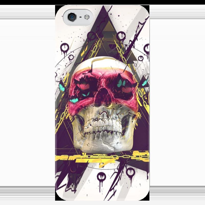 Чехол для iPhone 5 глянцевый, с полной запечаткой Printio Skull in triangle чехол для iphone 5 глянцевый с полной запечаткой printio fear and loathing in las vegas