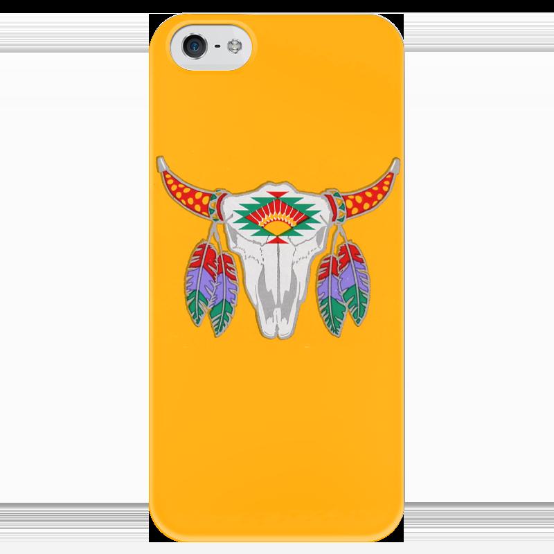 цены Чехол для iPhone 5 глянцевый, с полной запечаткой Printio Этнический бык