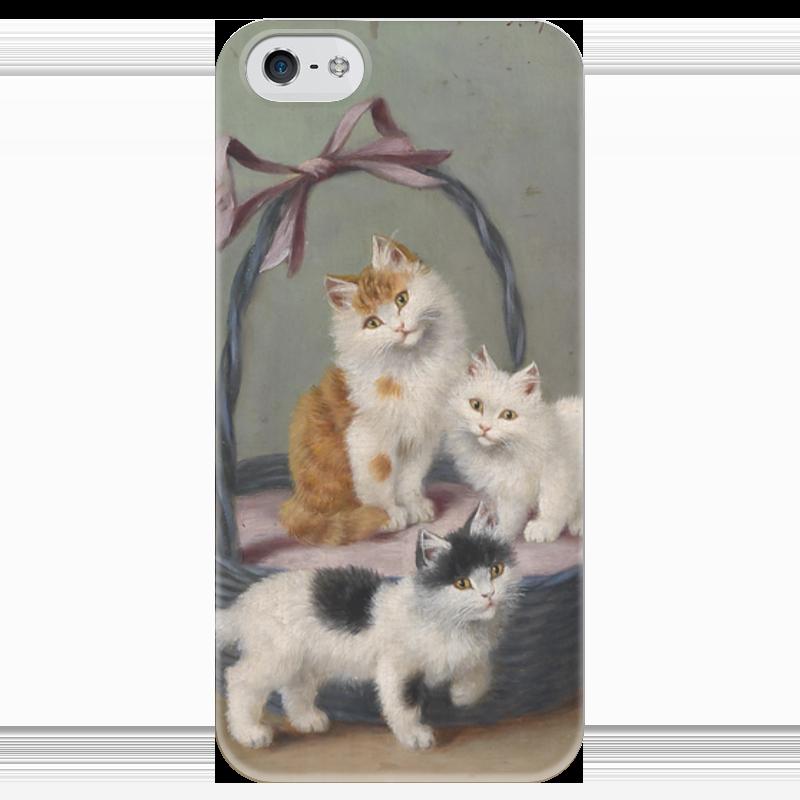 Чехол для iPhone 5 глянцевый, с полной запечаткой Printio Котята в корзине (софи шперлих) искусственные ромашки в корзине
