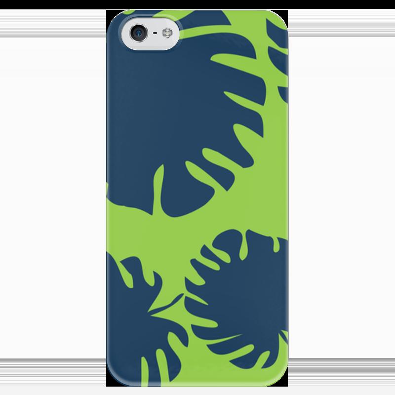 Чехол для iPhone 5 глянцевый, с полной запечаткой Printio Тропические листья