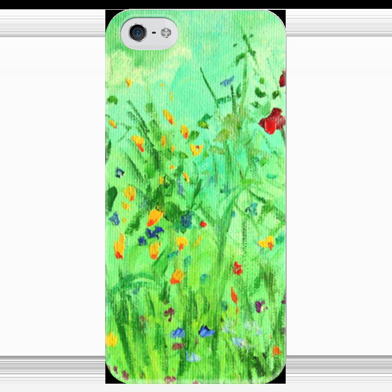 Чехол для iPhone 5 глянцевый, с полной запечаткой Printio Полевые цветы чехол для iphone 5 глянцевый с полной запечаткой printio не трогай мой телефон