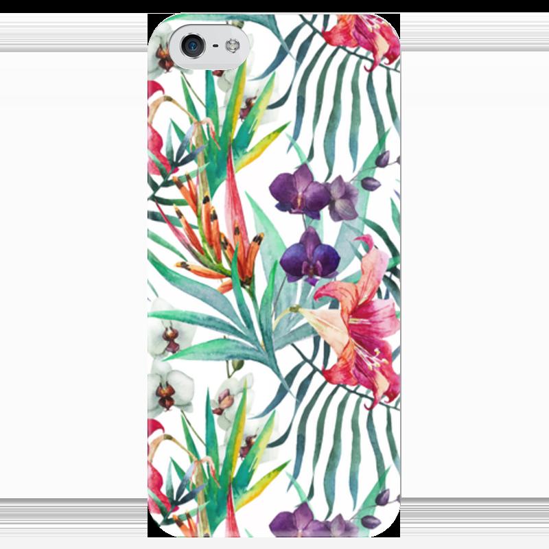 Чехол для iPhone 5 глянцевый, с полной запечаткой Printio Тропические цветы