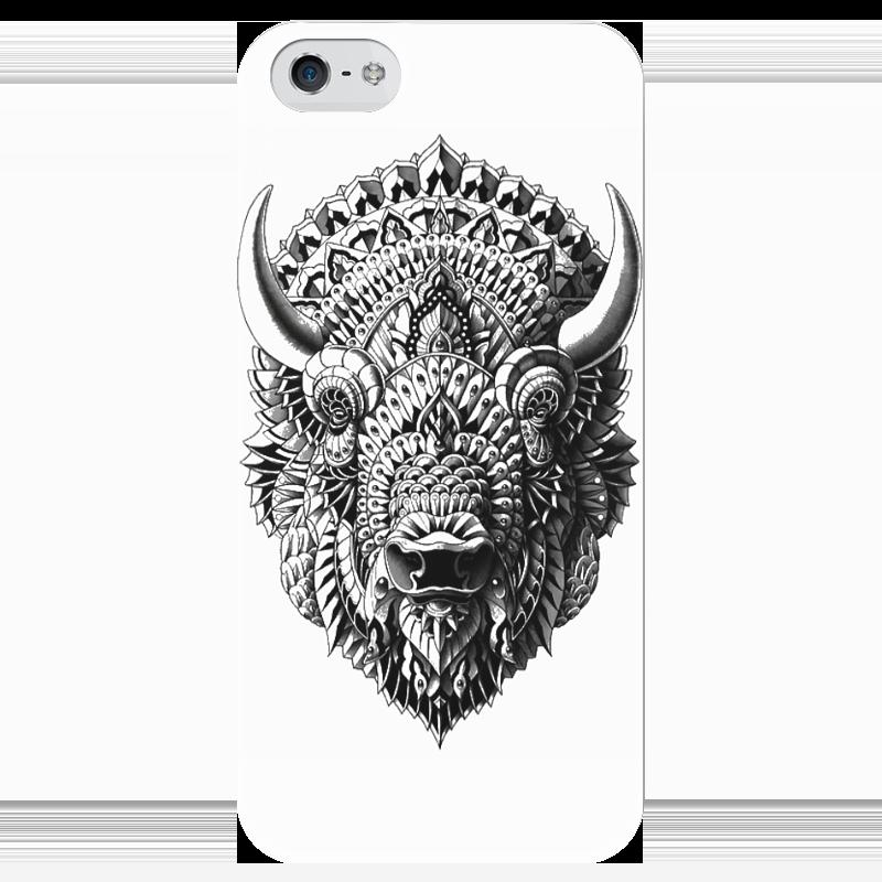 Чехол для iPhone 5 глянцевый, с полной запечаткой Printio Голова быка