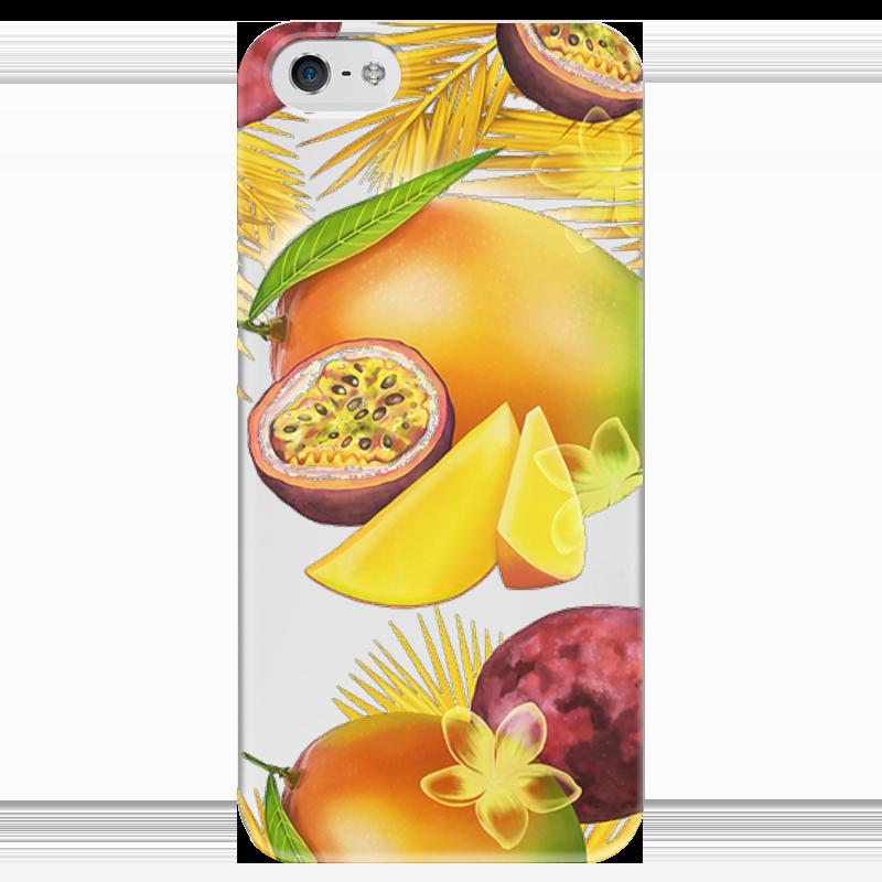 Чехол для iPhone 5 глянцевый, с полной запечаткой Printio Тропические фрукты