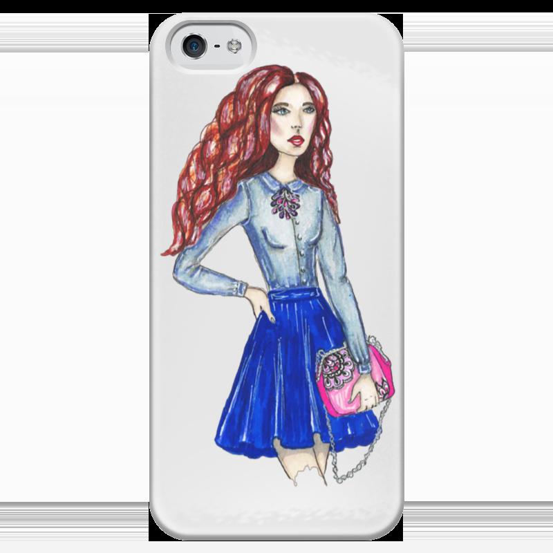Чехол для iPhone 5 глянцевый, с полной запечаткой Printio Модная девушка с сумкой