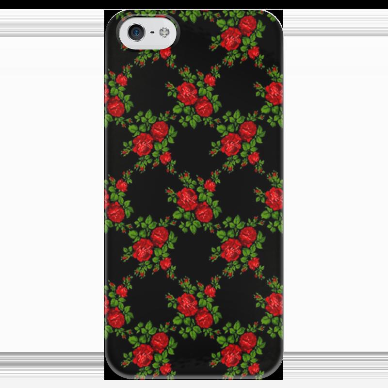 Чехол для iPhone 5 глянцевый, с полной запечаткой Printio Розы на чёрном