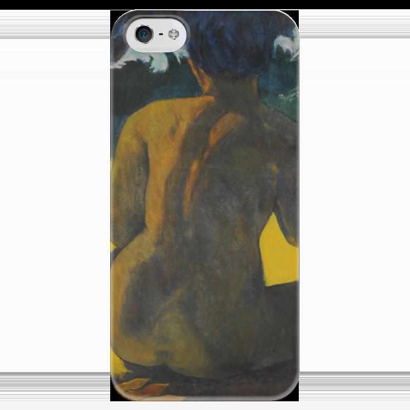 Чехол для iPhone 5 глянцевый, с полной запечаткой Printio Woman on the beach (картина поля гогена)