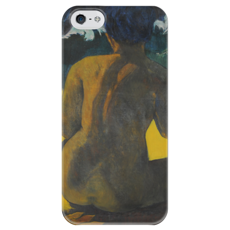 Чехол для iPhone 5 глянцевый, с полной запечаткой Printio Woman on the beach (картина поля гогена) the month of maryрепродукции гогена 30 x 40см