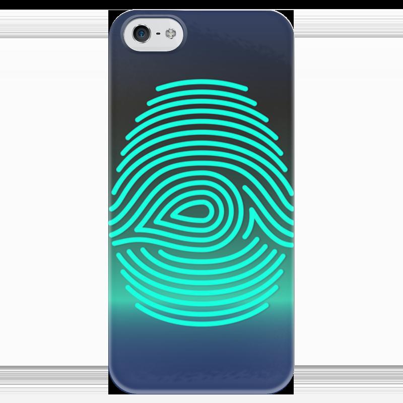 Чехол для iPhone 5 глянцевый, с полной запечаткой Printio Отпечаток пальца чехол для карточек пионы на синем фоне дк2017 113