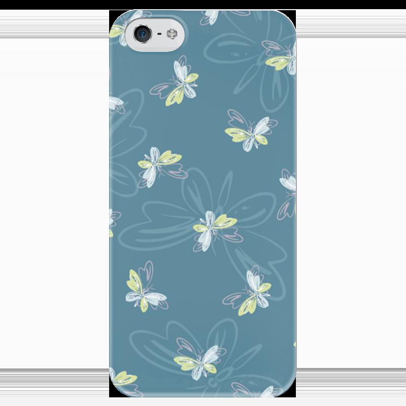Чехол для iPhone 5 глянцевый, с полной запечаткой Printio Бабочки чехол для карточек цветные совы на синем фоне дк2017 112