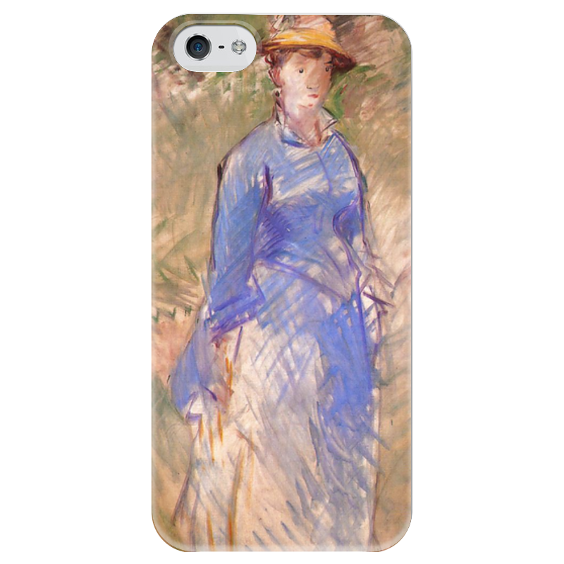 Чехол для iPhone 5 глянцевый, с полной запечаткой Printio Молодая девушка в саду цветной тм девушка в розовом саду