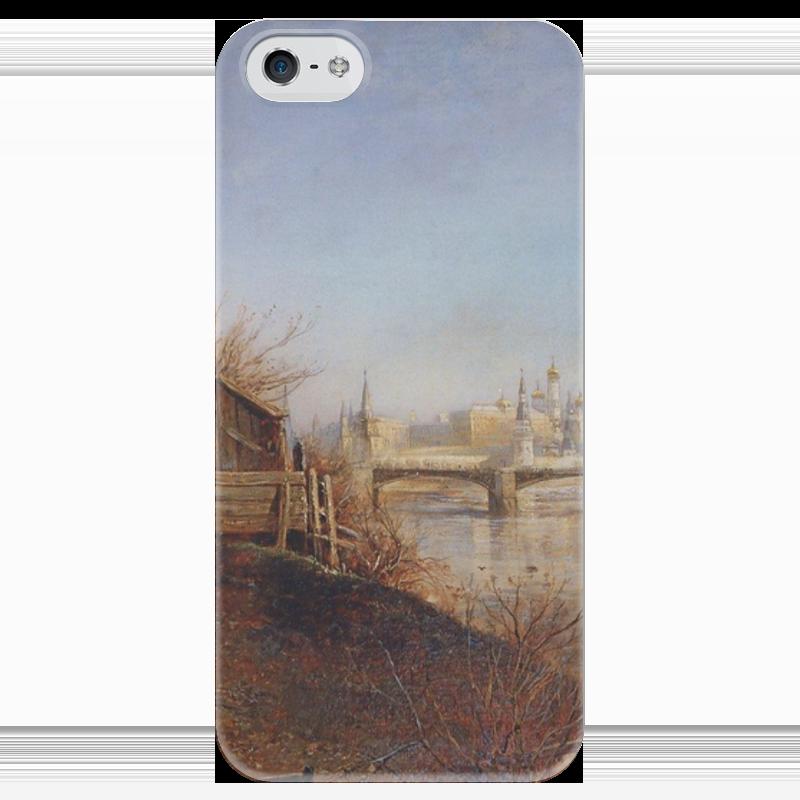 Чехол для iPhone 5 глянцевый, с полной запечаткой Printio Вид на кремль