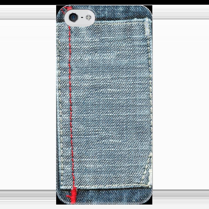 Чехол для iPhone 5 глянцевый, с полной запечаткой Printio Джинса
