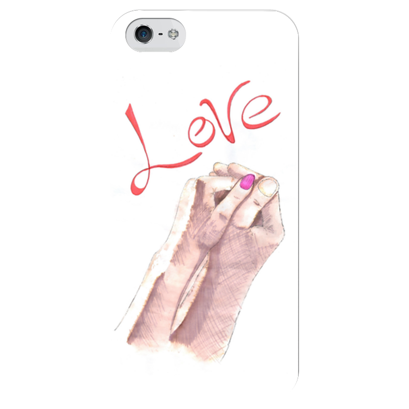 Чехол для iPhone 5 глянцевый, с полной запечаткой Printio Love! чехлы для телефонов with love moscow силиконовый дизайнерский чехол для meizu m3s перья