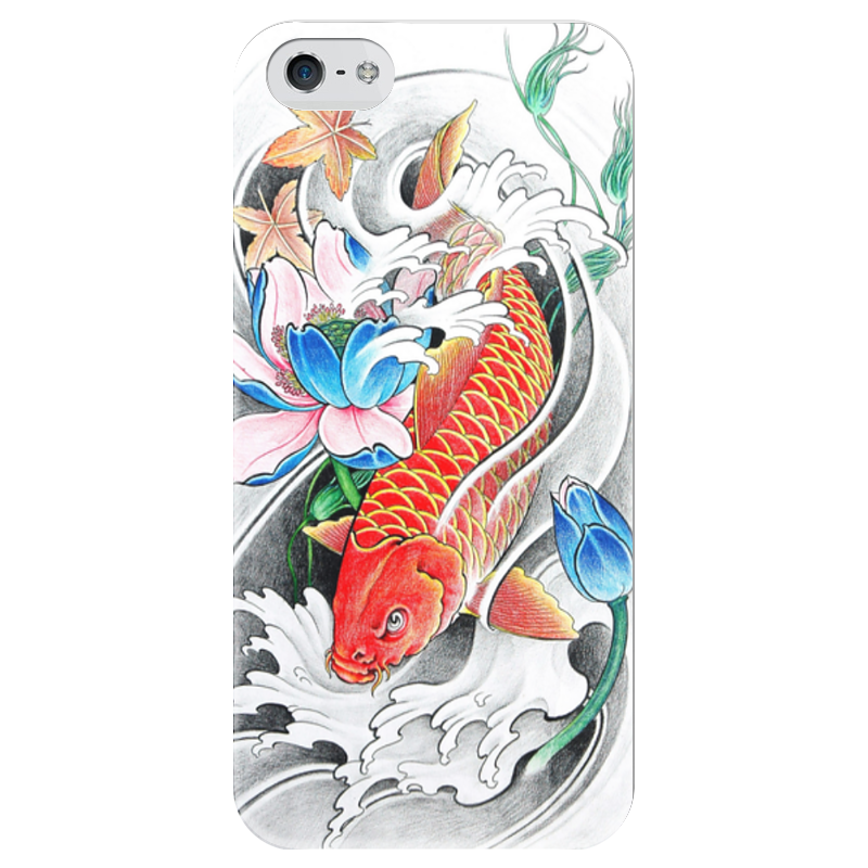 Чехол для iPhone 5 глянцевый, с полной запечаткой Printio Китайский карп