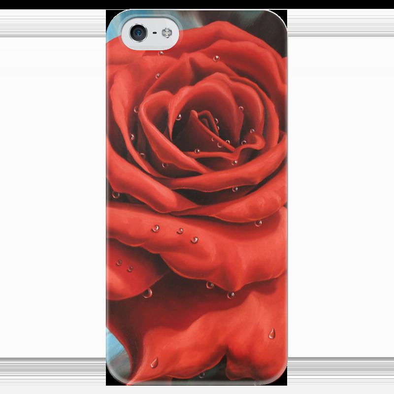Чехол для iPhone 5 глянцевый, с полной запечаткой Printio Красная роза 3d головоломка роза красная 90113