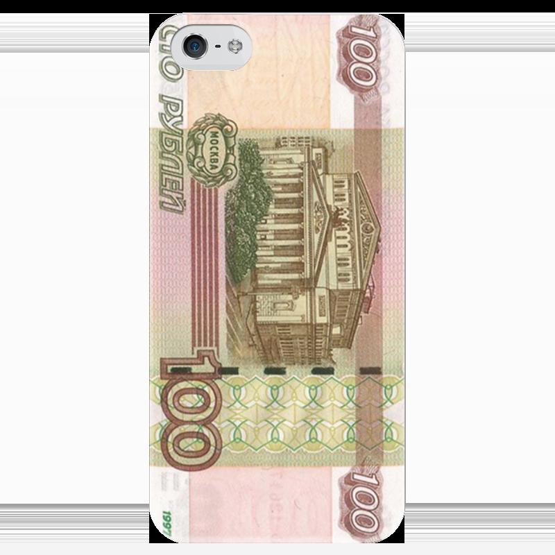 Чехол для iPhone 5 глянцевый, с полной запечаткой Printio Сто рублей