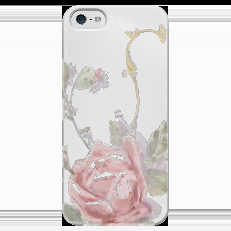 Чехол для iPhone 5 глянцевый, с полной запечаткой Printio Нежная роза чехол для iphone 5 глянцевый с полной запечаткой printio не трогай мой телефон