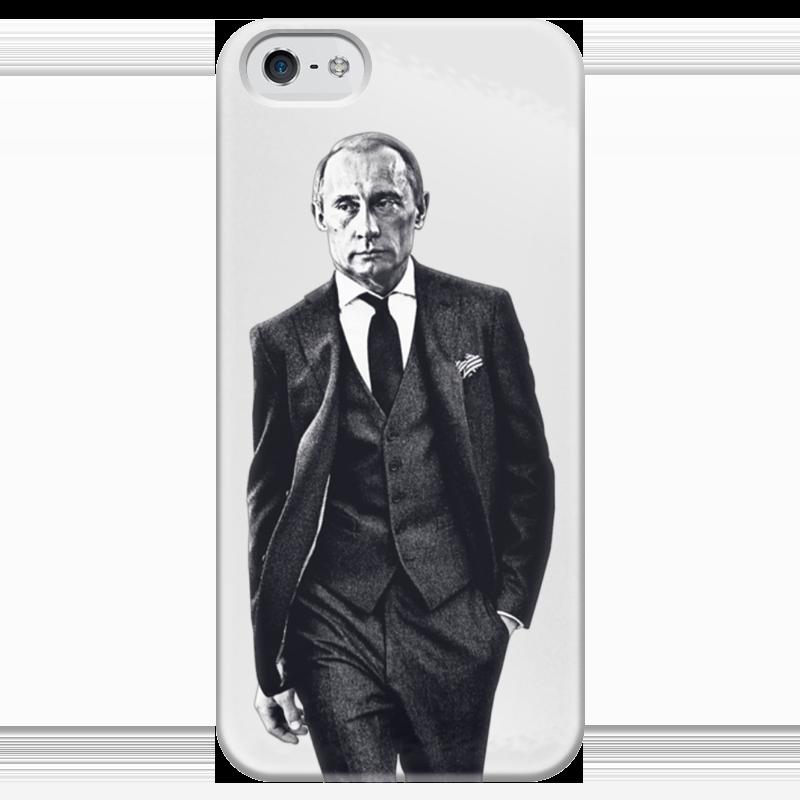 Чехол для iPhone 5 глянцевый, с полной запечаткой Printio Путин в костюме как и где iphone 5s с поддержкой lte в россии