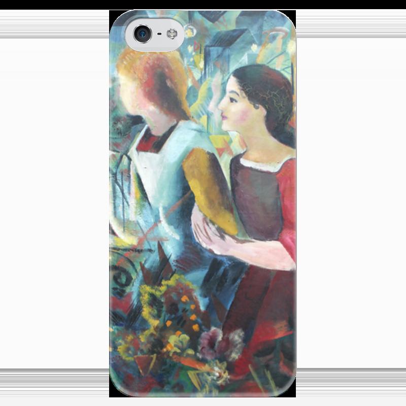 Чехол для iPhone 5 глянцевый, с полной запечаткой Printio Две девушки (август маке) чехол для iphone 4 глянцевый с полной запечаткой printio шляпный магазин август маке