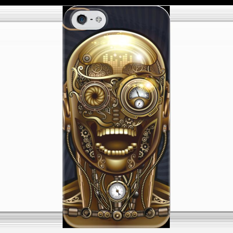 Чехол для iPhone 5 глянцевый, с полной запечаткой Printio Стимпанк-голова