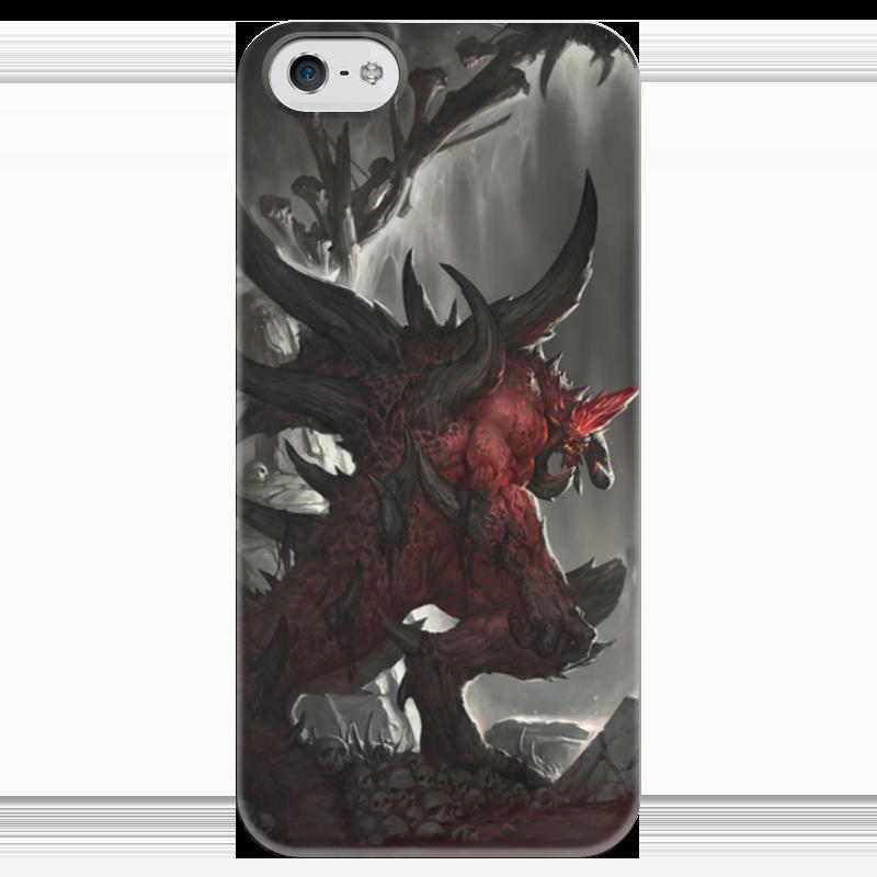Чехол для iPhone 5 глянцевый, с полной запечаткой Printio Diablo