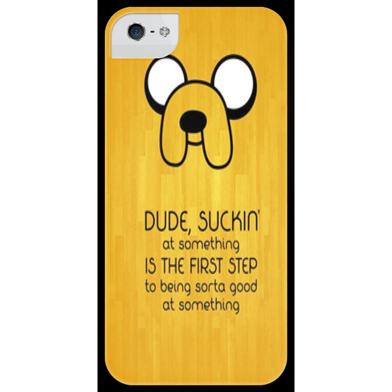 Чехол для iPhone 5 глянцевый, с полной запечаткой Printio Adventure time - jake стоимость