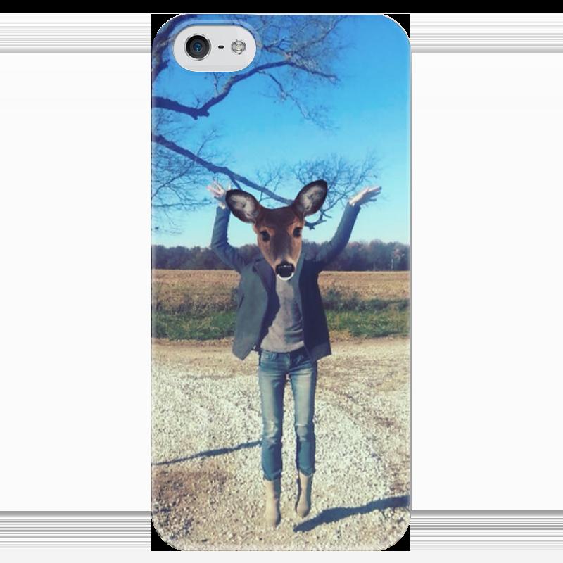 Чехол для iPhone 5 глянцевый, с полной запечаткой Printio Flying fawn