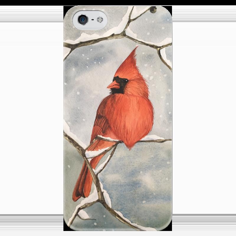 Чехол для iPhone 5 глянцевый, с полной запечаткой Printio Красный кардинал стоимость