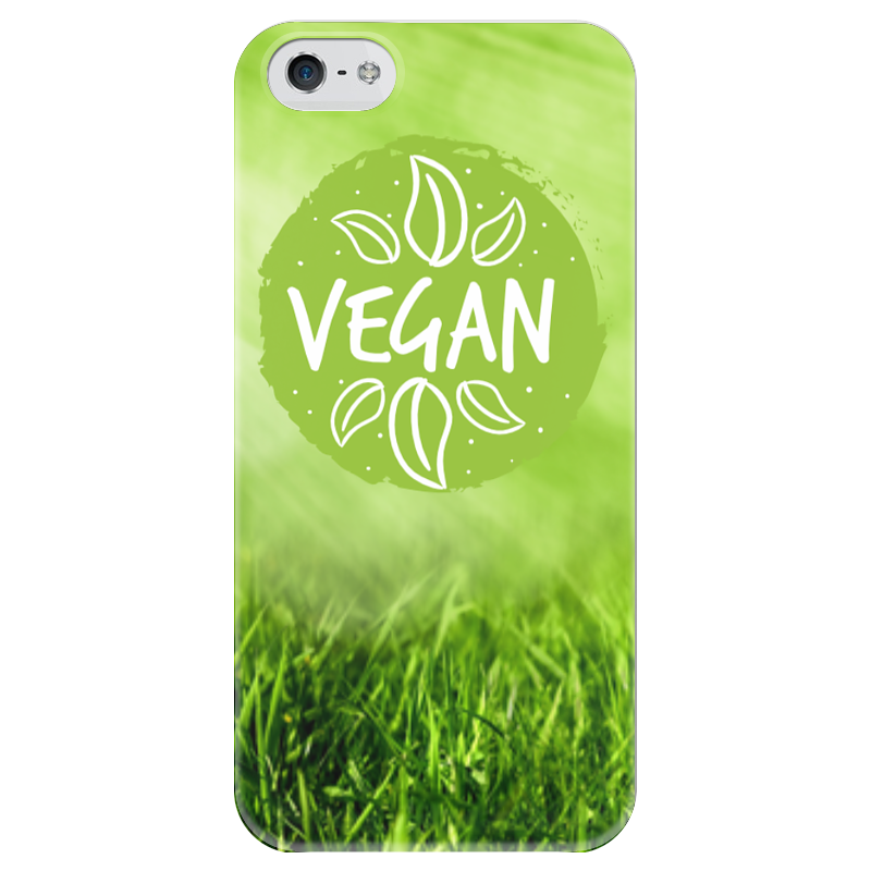 Чехол для iPhone 5 глянцевый, с полной запечаткой Printio Go vegan! стоимость